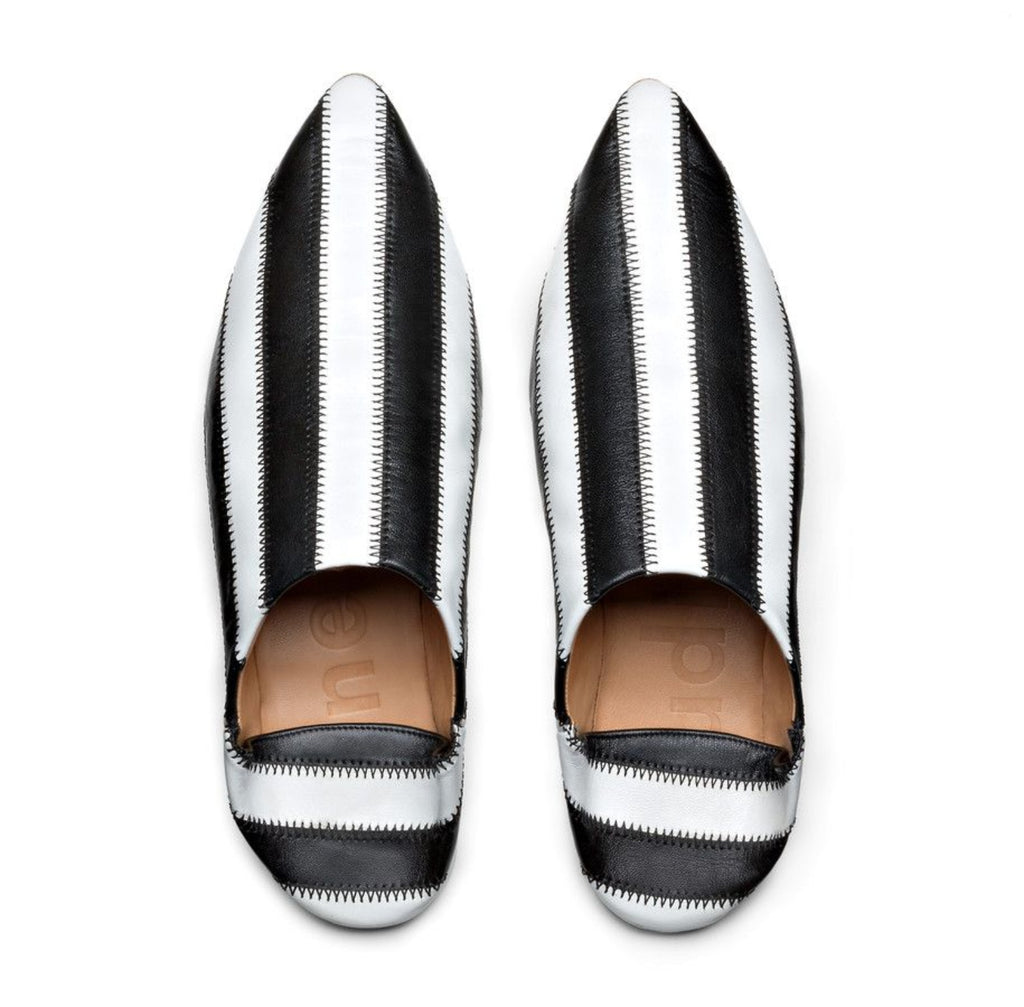 Acne studios white and black stripped point toe slides