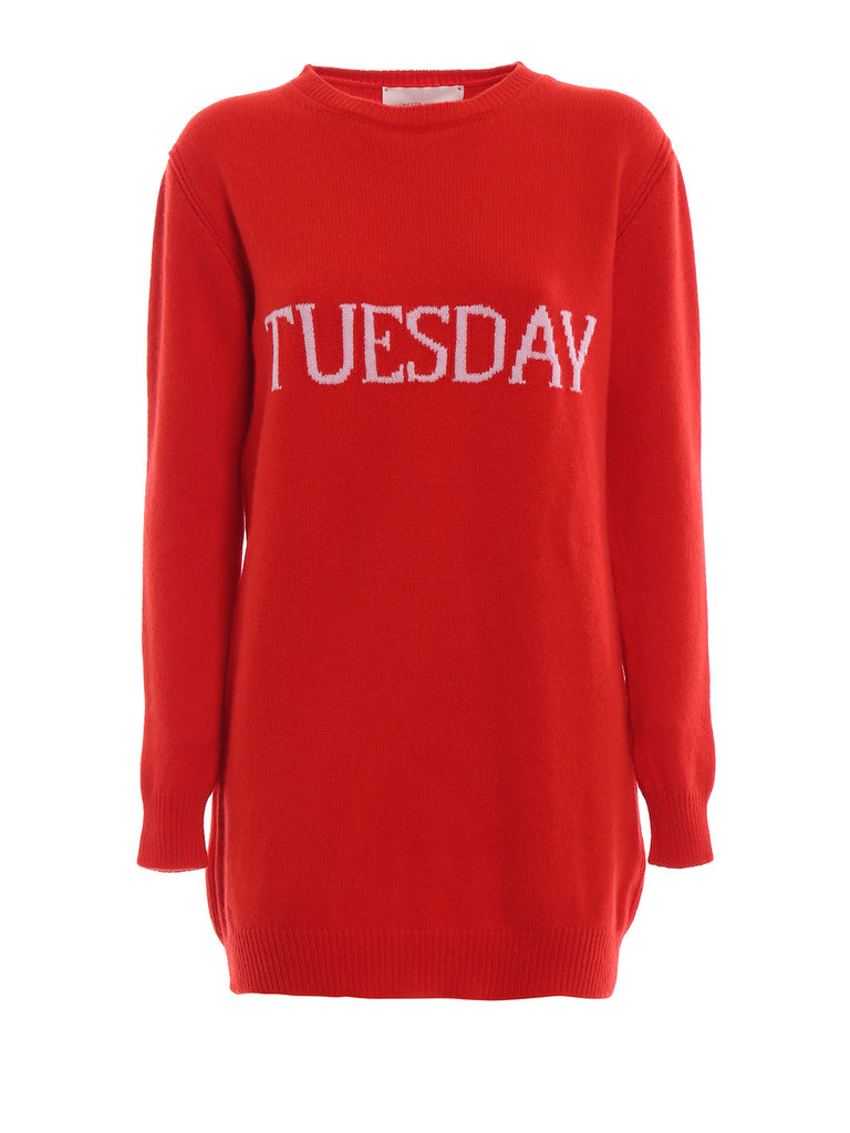 Alberta Ferreti crew neck tuesday logo red knit