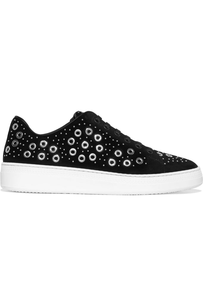 alaia flatform silver studded eyelet lace up sneakers