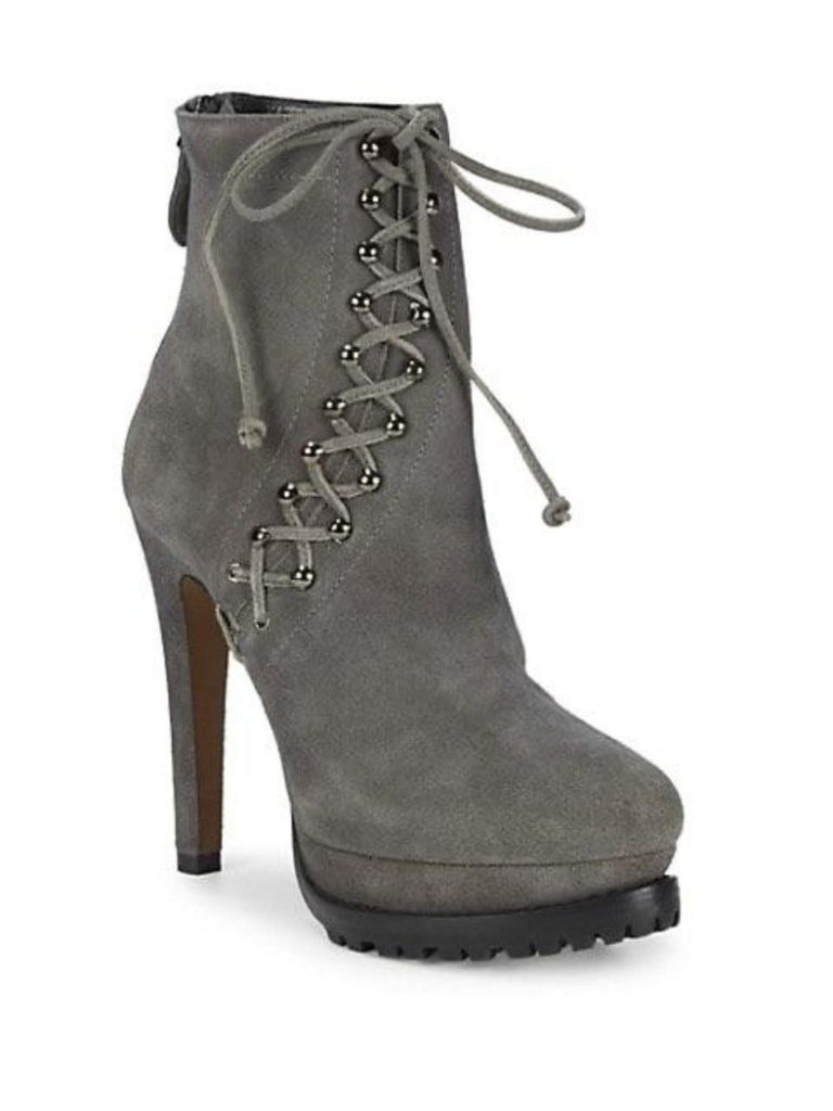 Alaia platform suede lace up grey boots