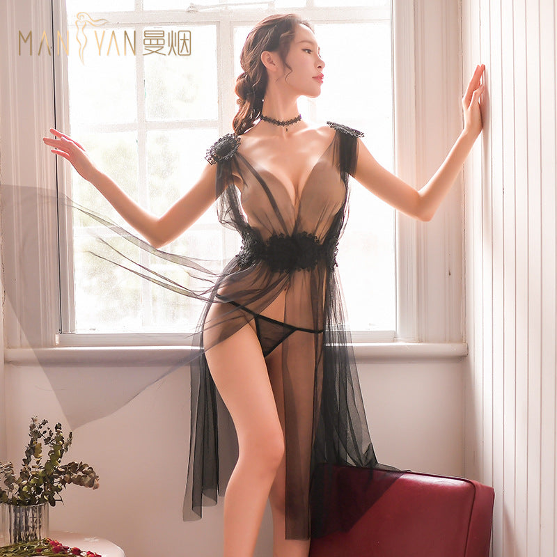 Sexy lingerie women's new sexy long section transparent mesh split lace flower nightdress dress 2058