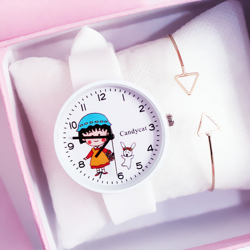 Cherry pill watch Japanese girl heart Harajuku style junior high school student Korean simple tide cute soft sister ins