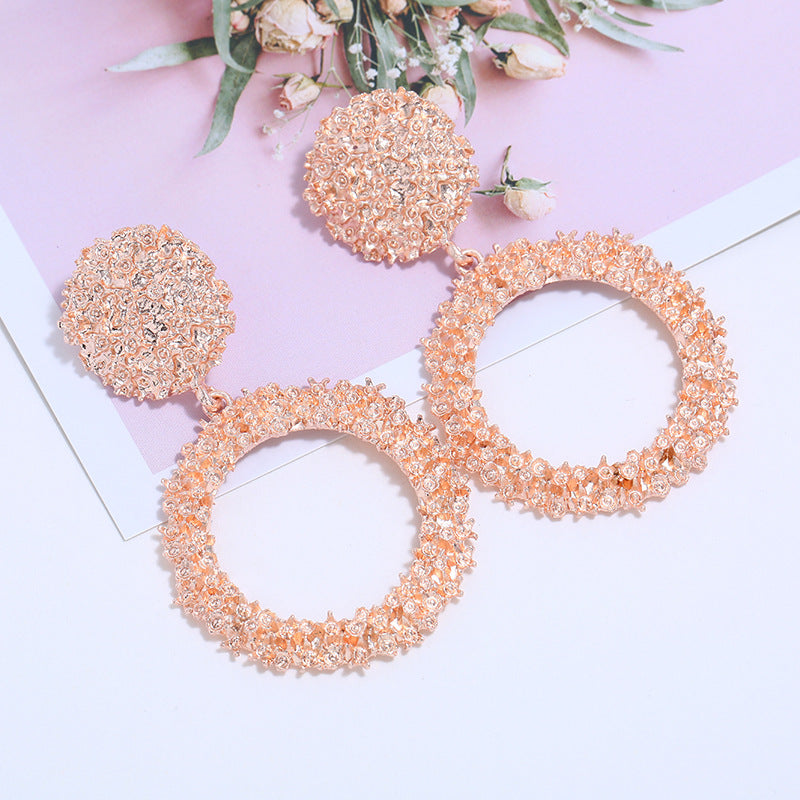 AliExpress Hot Selling New Earrings European and American Fashion Big Round Alloy Textured Electroplated Earrings Manufacturers