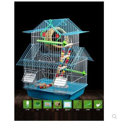 Budgerigar bird cage peony culture large villa cage bird bird small trumpet iron metal bird cage