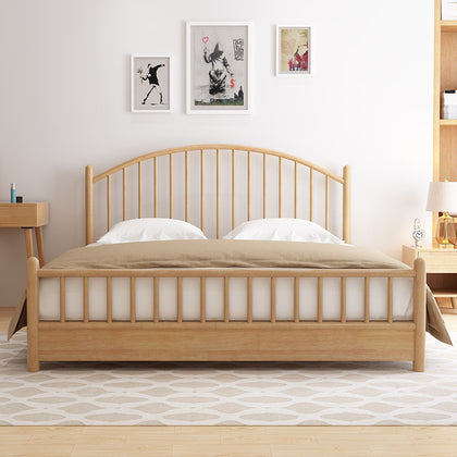 Solid wood bed 1.5 m 1.8 m double bed Nordic bedroom furniture Windsor all solid wood bed princess simple Nordic bed