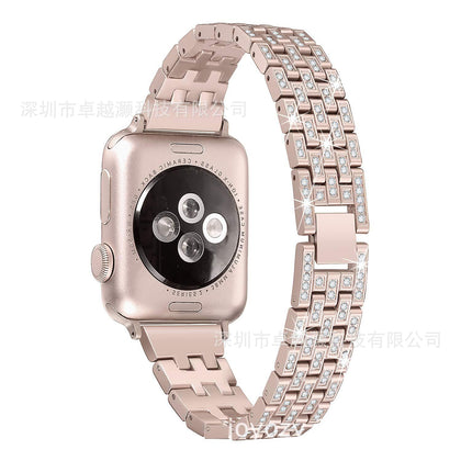 For Apple Apple Watch Smart Watch Series 4/3/2/1 Five-Bead Five-Row Diamond Watch Band