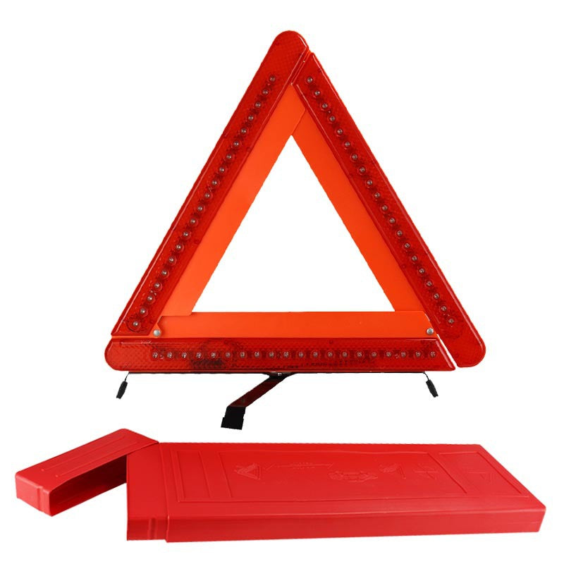 LED lights car tripod car reflective triangle warning sign parking safety triangle card auto supplies