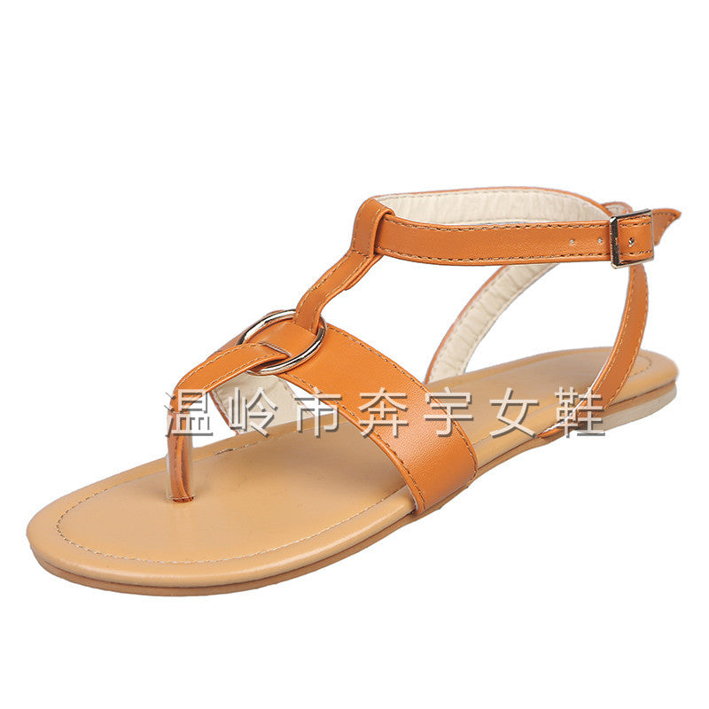 Cross-border exclusively for 2019 spring and summer explosion models wish AliExpress Europe and the United States flat metal buckle Rome foreign trade 43 yards women's shoes