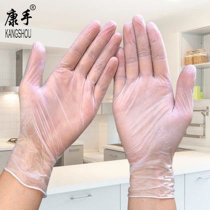 Disposable powder-free PVC gloves tattoo beauty vinyl nail transparent food grade baking check vinyl