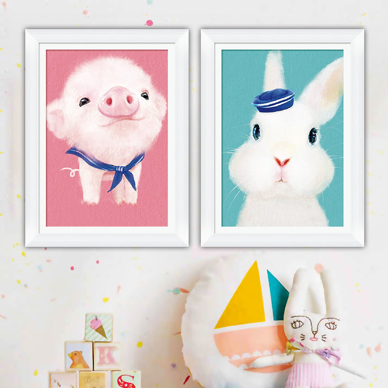 2019 new cross stitch small cute pet small animal powder pig rabbit children cartoon bedroom line embroidery small simple
