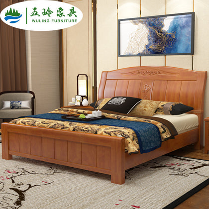 Nankang furniture new Chinese solid wood bed rubber wooden bed 1.5 m 1.8 m double bed small apartment bedroom furniture