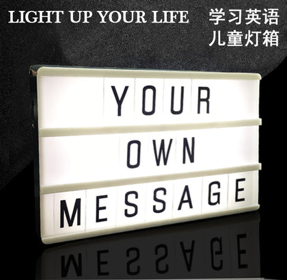 Ins foreign trade explosions Amazon hot sale LED cartoon letter light box DIY puzzle holiday decoration message light box