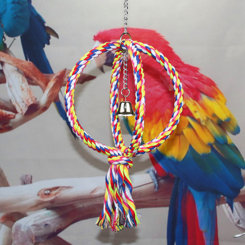 Parrot supplies bite toy parrot cotton rope rotary ladder colored cotton rope bird climbing cotton rope station stick ladder