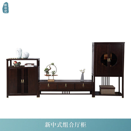 New Chinese style cabinet【Solid wood + metal handle】