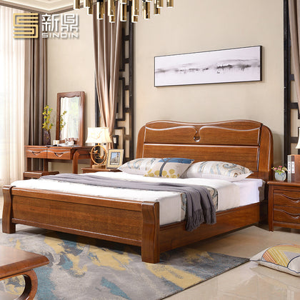 Golden silk walnut wood bed master bedroom new Chinese furniture double 1.8 m 1.5m modern minimalist light luxury bed