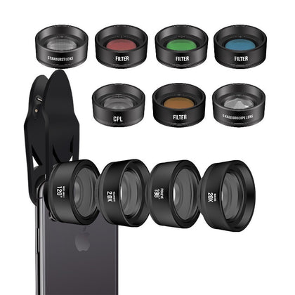 11 in 1 11 in 1 mobile phone external lens set Polarizer filter Wide angle Macro Fisheye increase