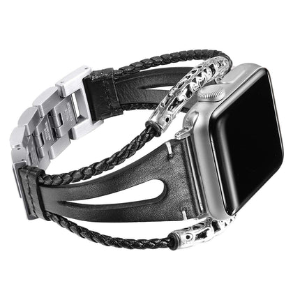 Suitable for Apple Watch Apple Watch iwatch metal stainless steel sheepskin rope chain leather strap