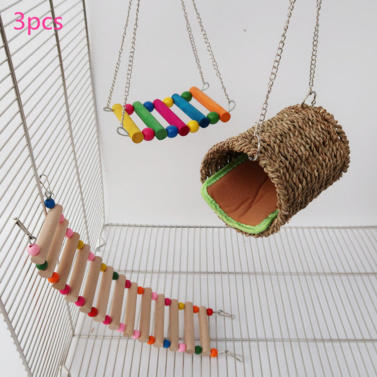Hamster squirrel honey bag 鼯 parrot toy Parrot hamster warm nest swing ladder 3 piece set