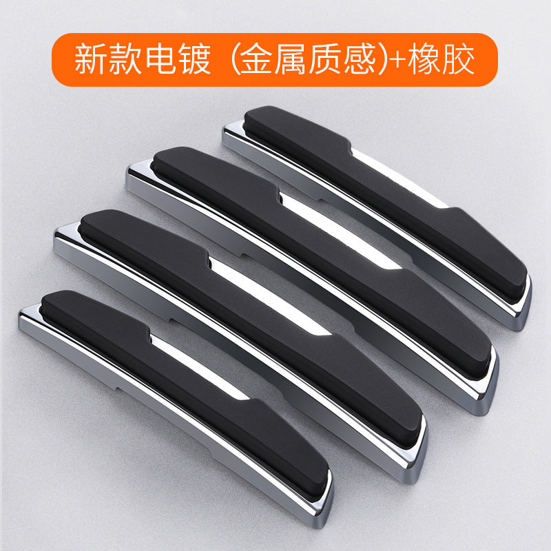 Thickened 4 pieces Car plating door edge anti-collision strips open door bumper stickers Door anti-scratch scratch-resistant rubber strips