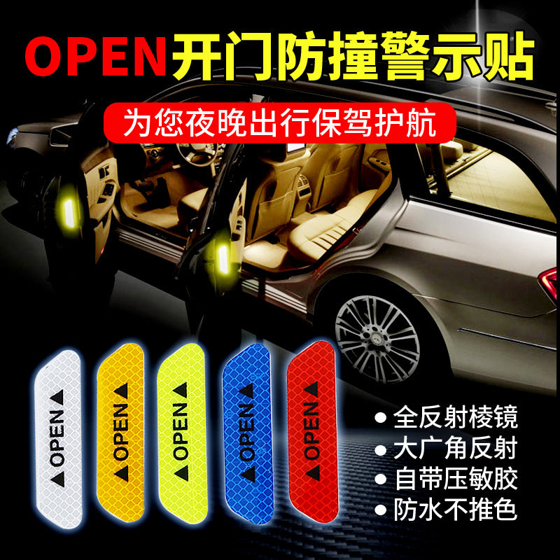 New car door strong reflective stickers safety warning stickers car open reflective stickers anti-collision strips decorative stickers open stickers