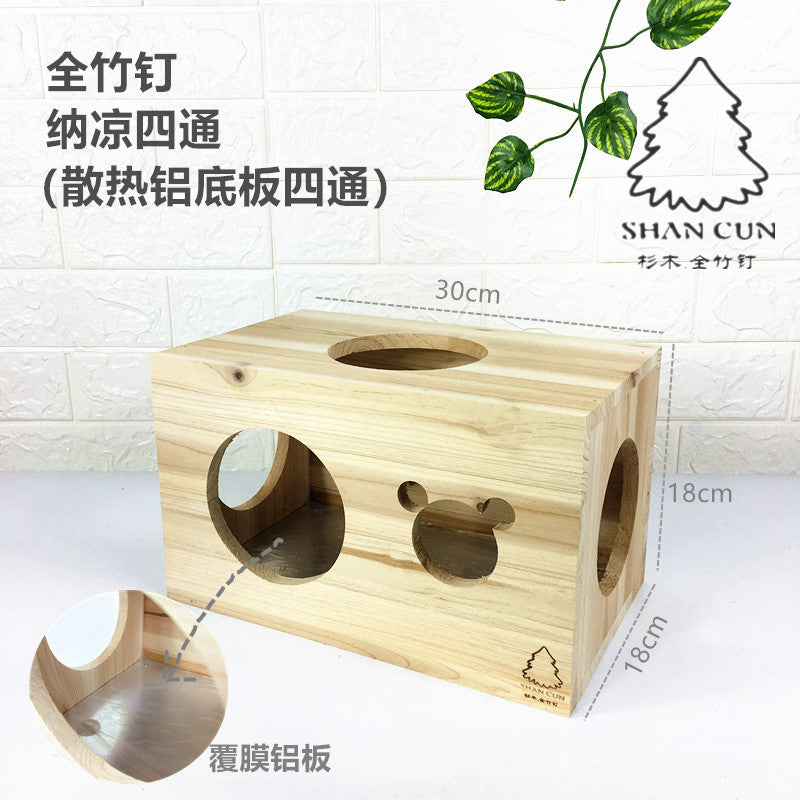 Wooden nail wooden nest wholesale Totoro devil squirrel honey bag 鼯 hedgehog snow Dutch pigs chinchillas wooden house summer cool