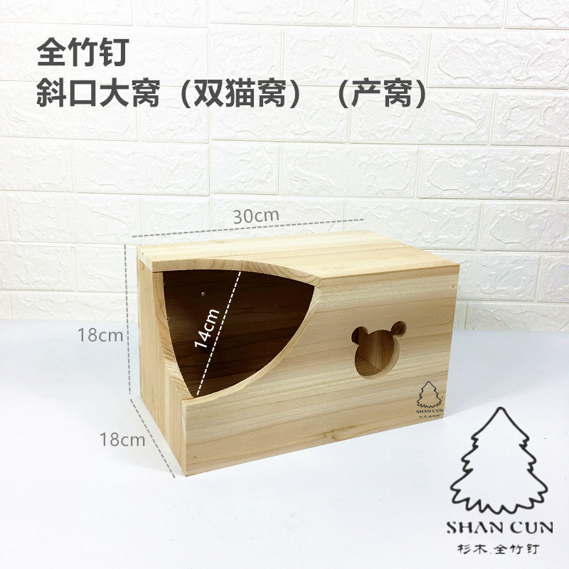 Single mouth chinchillas bamboo nail wooden nest wooden house devil squirrel honey bag 鼯 hedgehog snow Dutch pig wood nail safety