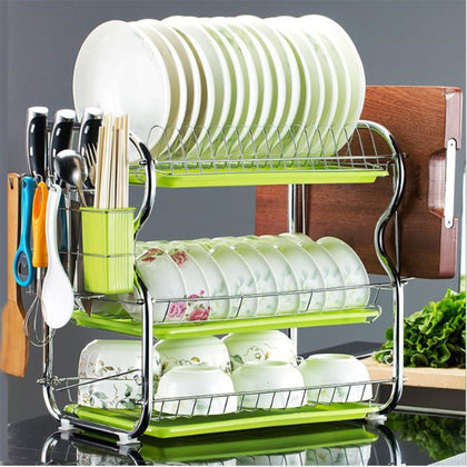 Cross-border selling hardware drain storage finishing rack kitchen water glass cutting board bowl dish plate drain rack three layers