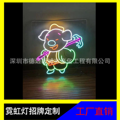 Factory direct personalized custom acrylic floor flexible LED neon sign door decoration
