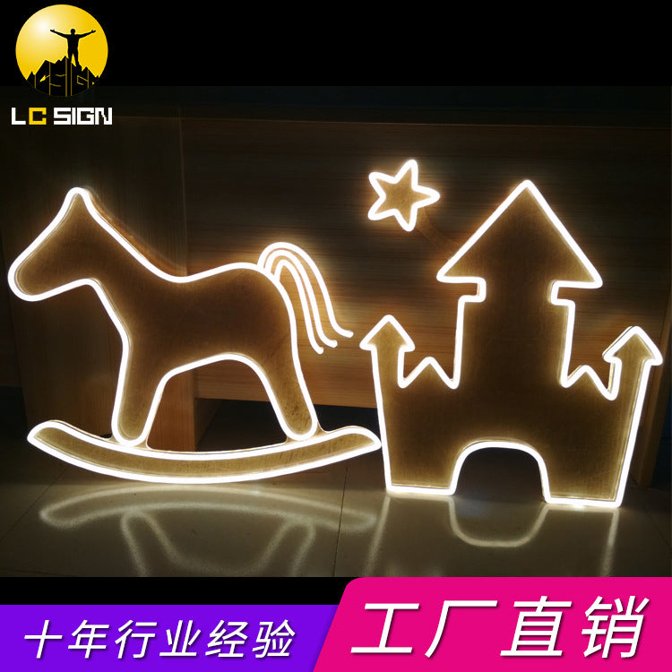 Neon glowing signage neon pattern logo custom Halloween Christmas neon styling