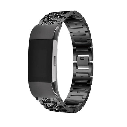 Suitable for fitbit charge2 watch diamond strap steel solid steel metal rhinestone chain steel strap