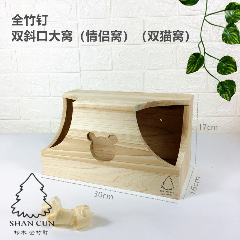 Factory wholesale 龙猫木窝魔王 squirrel honey bag 鼯 hedgehog snow Dutch pig wood wooden house wooden nail bamboo nail