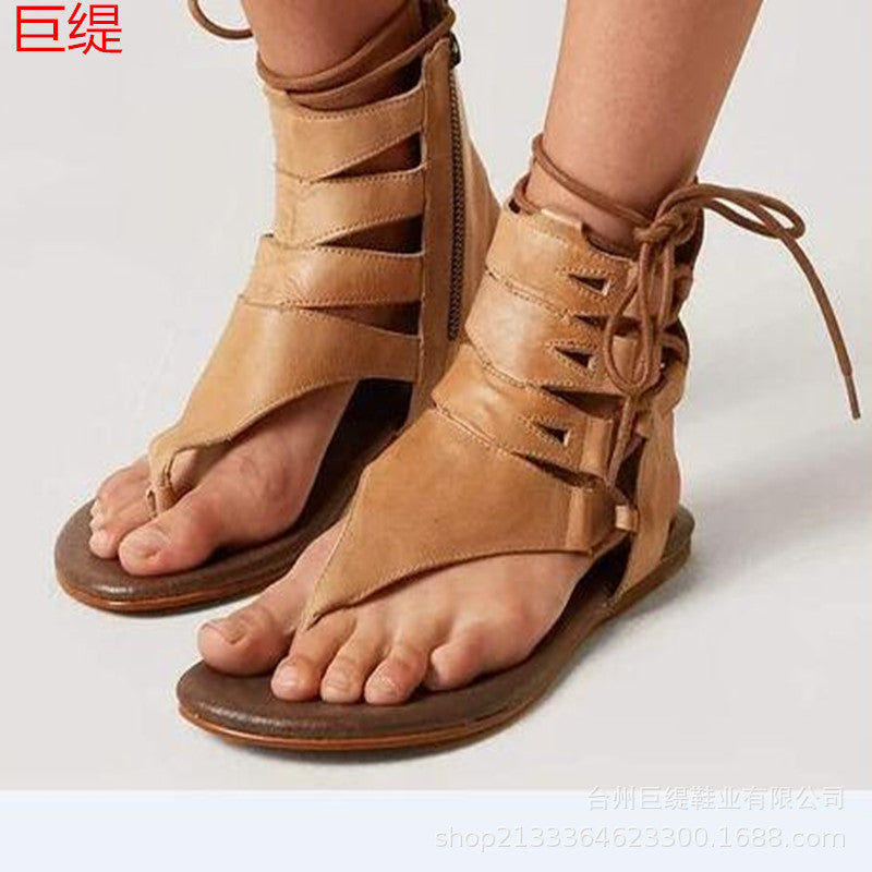 2019 new wish AliExpress Amazon independent station Joom eabay foreign trade large size flat bottom lace-up sandals women