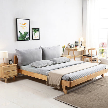 Solid wood bed Nordic style Japanese hotel B&B wedding bed small apartment 1.51.8 m bedroom furniture factory direct sales