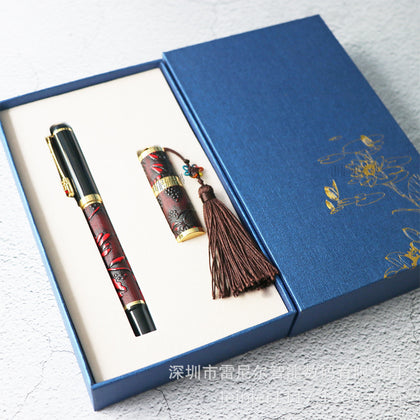 Business Gift Set Embossed Pen Metal U Disk Pen Set Corporate Practical Gift Custom LOGO