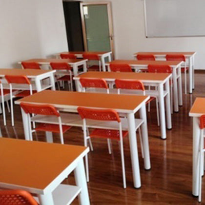 Manufacturers custom primary and secondary school students desks and chairs school steel wood double tables and chairs combination tutorial class strip table training table
