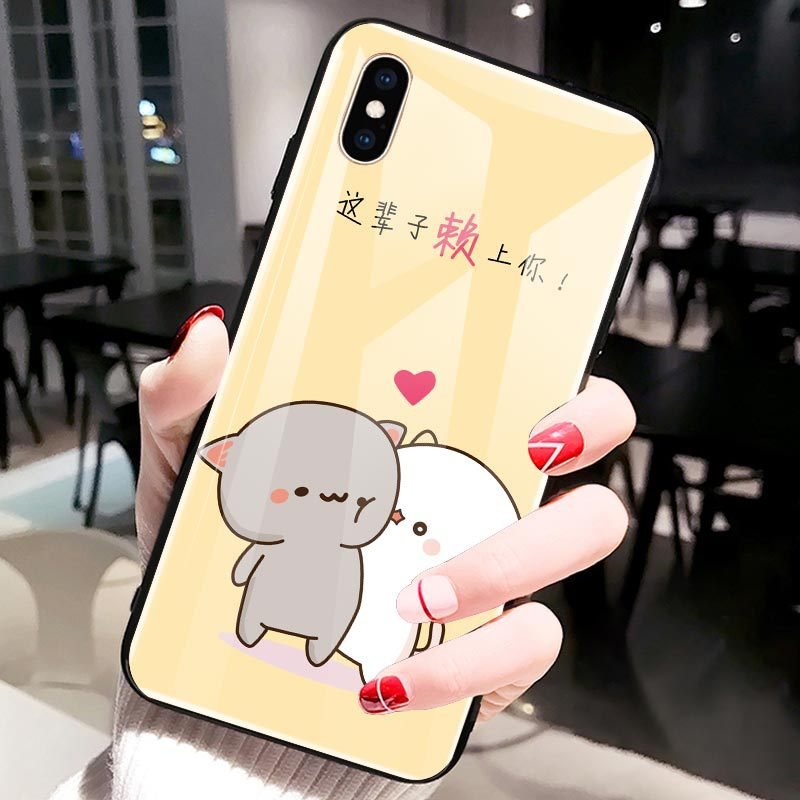 Cute cartoon pig for iPhonexr mobile phone shell r15 glass 7plus all-inclusive soft edge x27 protective shell