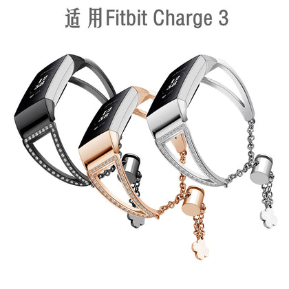 Fitbit charge 3 smart bracelet metal stainless steel diamond adjustment chain bracelet bracelet