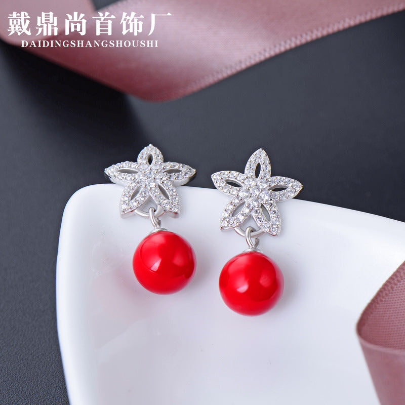 Korean version of the cross-border explosion models accessories s925 sterling silver pearl earrings female creative personality earrings earrings ear jewelry wholesale