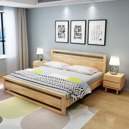 Billion extension wood bed 1.8 m Japanese double bed master bedroom 1.5 single modern minimalist economic Nordic wood bed