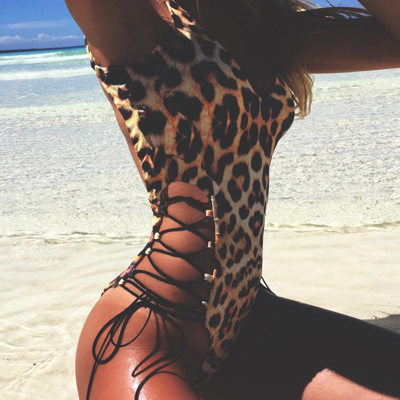 Foreign trade supply Europe and the United States new back hollow sexy leopard sling jumpsuit factory direct