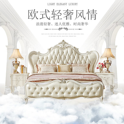 Huangpu European-style bed high-grade solid wood bed furniture first layer leather wedding bedroom wedding double bed factory wholesale