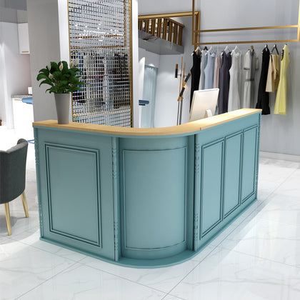 Nordic Net Red Iron Cashier Counter Commercial Store Clothing Store Semicircle Counter Bar Front Corner Curved