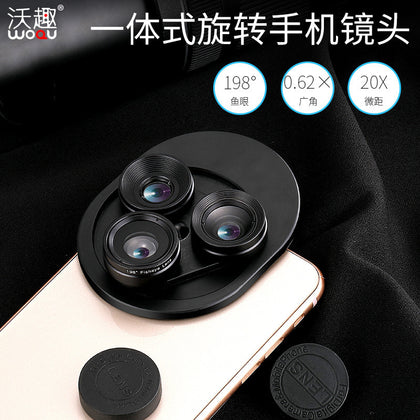 Mobile phone external lens Wide angle macro fisheye mobile phone lens Three-in-one universal camera lens