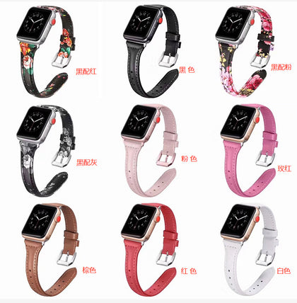 Applicable Apple Watch Smart Strap Applicable Apple Leather Strap 1234 Generation Reduced Car Line Strap