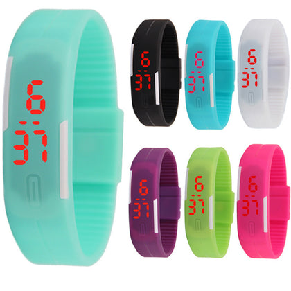 Children's silicone gift jelly student couple electronic watch luminous touch LED bracelet watch LOGO custom wholesale