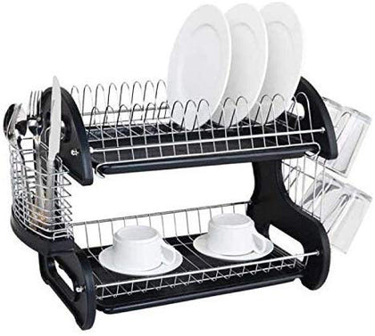Kitchen double-layer bowl rack iron wire rack plastic tableware drain rack tableware drying rack dish rack wholesale