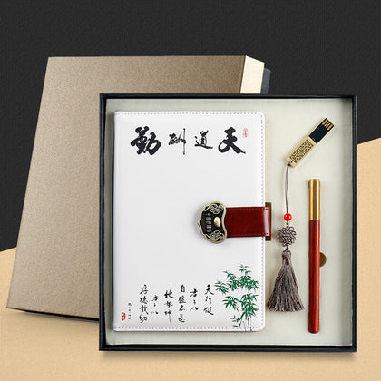 Business notebook set custom notepad set high-end book gift box U disk signature pen set logo