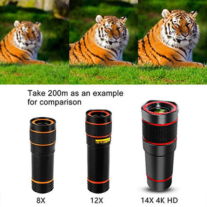 12 times X8 times mobile phone telephoto telescope lens 14 times high-definition camera zoom focus external mobile phone lens