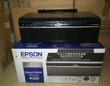 EP R330 image color photo inkjet printer is connected to the sublimation thermal transfer card printer