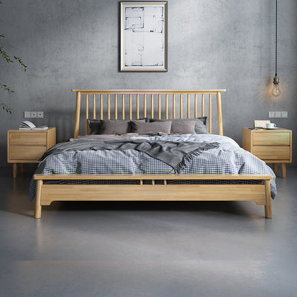 Solid wood bed 1.5m1.8 meters single bed Nordic bedroom furniture Princess wedding simple pure solid wood Nordic bed